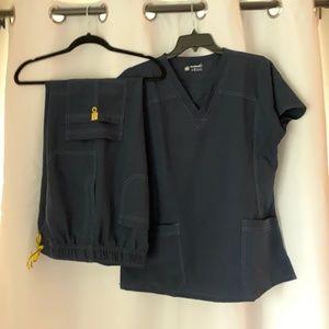 WonderWink Navy Scrub Set - Medium top, Large pant